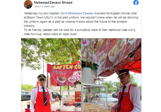 Malaysian pilot starts local food stall after losing job due to pandemic