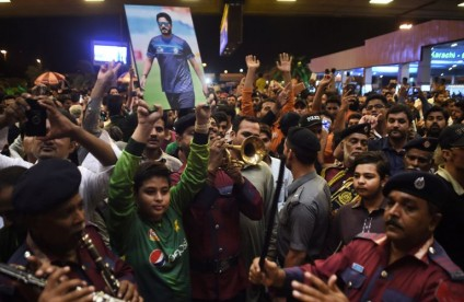 Pakistani cricket team's arrival from London in Karachi