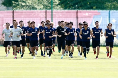 Japan's players take part in a training session