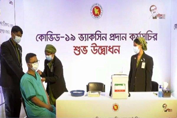 Runu Veronika Costa takes first Covid-19 vaccine in Bangladesh