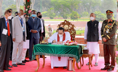 Lankan PM pays tribute to liberation war heroes at Savar