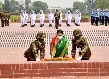 Nepalese President Bidya Devi pays tribute to liberation war heroes at Savar