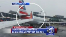 2 taxiing planes collide at La Guardia Airport