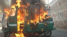 CNG, human hauler torched in capital