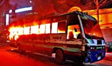Passenger bus torched in capital's Gulistan
