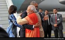 Met with a hug: PM Modi breaks protocol for Obama