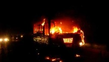 Bus torched in Moulvibazar