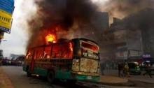 Bus torched in Moulvibazar; 4 burnt