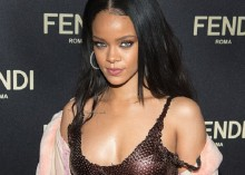 Rihanna rocks copper gown with the two Fendi baguettes