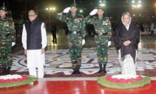 President, PM place floral wreaths at the Shaheed Minar