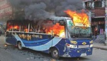 Three burnt as miscreants torch bus in Rupganj