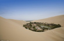 Mysterious Oasis Town in Desert