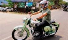 Biker Dhoni cops a fine