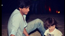 SRK spends time with AbRam on a beach in Goa