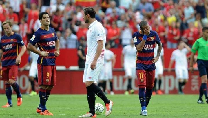 Messi-less Barcelona beaten by Sevilla
