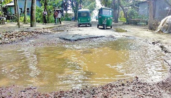A portion of Saturia-Dorgram road in Manikganj district