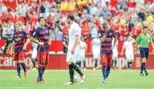 Messi-less Barcelona beaten by Sevilla