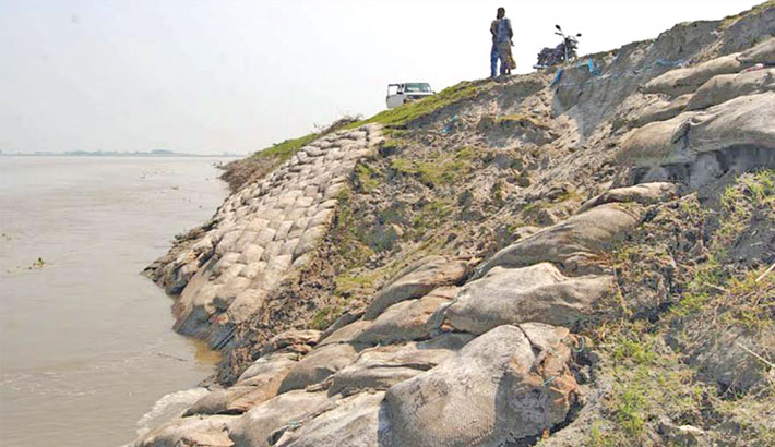 Erosion by the Jamuna River is damaging