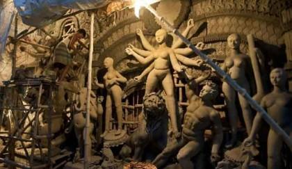 Artisans have busy schedule making idols in Rajshahi