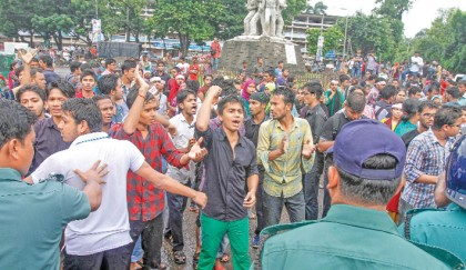Students continue demo for medical  admission retake