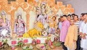 National Parliament Whip Iqbalur Rahim MP visits Roy Shaheb Bari Puja Mandap