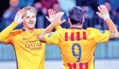 Rakitic double eases Barca past BATE