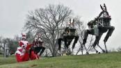 Google's BigDog robots pull Santa's sleigh