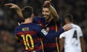 Suarez, Messi hat-tricks hit Valencia for seven