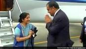Sushma Swaraj Arrives In Sri Lanka On 2-Day Visit