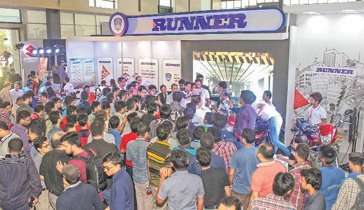 Sakib visits Runner stall at Motor Bike Show