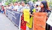 Human chain in front of the Sylhet Central Shaheed Minar
