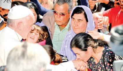 Pope brings hope to migrants, chastises leaders in Lesbos visit