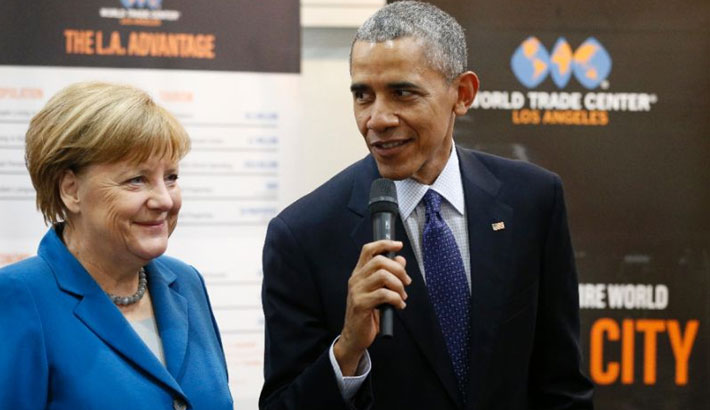 Merkel basks in Obama refugee policy praise as critics grouse