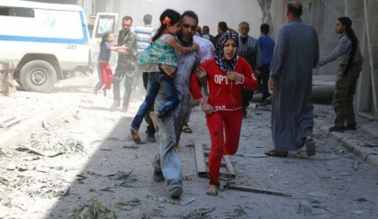 Residents flee as air strikes shake Syria's Aleppo