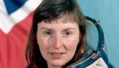 First British woman in space reunited with Russian crewmates