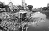 Rampura canal filled with dumped waste