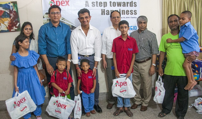 Underprivileged children given shoes by Apex