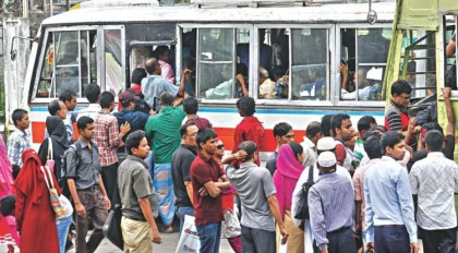 People suffer due to illegal bus stand on Narayanganj road