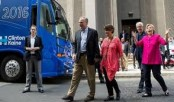 Clinton, Kaine kick off 3-day bus tour