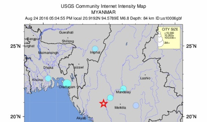 Earthquake jolts Bangladesh, with 6.8 magnitude at epicenter in Myanmar