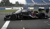 Driverless Roborace car speeds around Donington