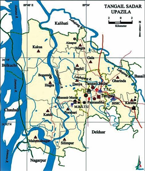 Tangail Sadar Dailysuncom - Tangail map