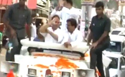 Shoe thrown at Rahul Gandhi during roadshow in Uttar Pradesh's Sitapur (watch video)