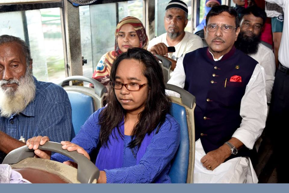 Minister Quader rides BRTC bus to office