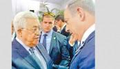 Abbas, Netanyahu in rare handshake at Peres funeral