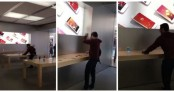 Man walks into Apple store, smashes nearly all iPhones (watch video)
