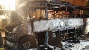 Minibus catches fire in city