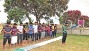 Bangladesh cricketers captured during a prayer at Christchurch