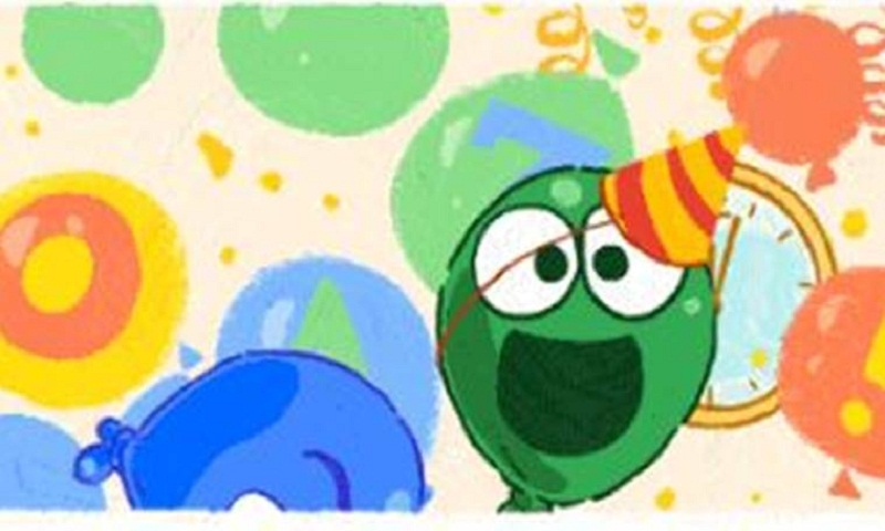 Google Doodle celebrates New Year by dropping balloons