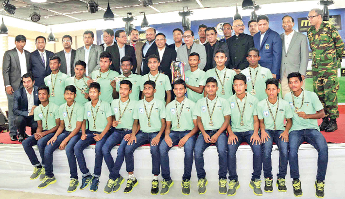 Bangladesh Under-14 footballers felicitated